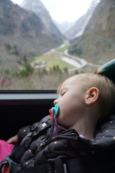 Lucy slept right through the best views from the bus ride